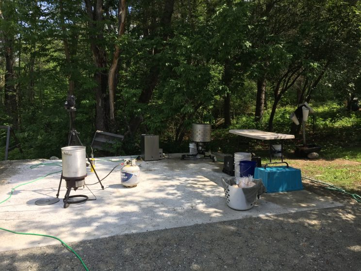 Harvesting setup on the Off Grid Out door Kitchen concrete slab