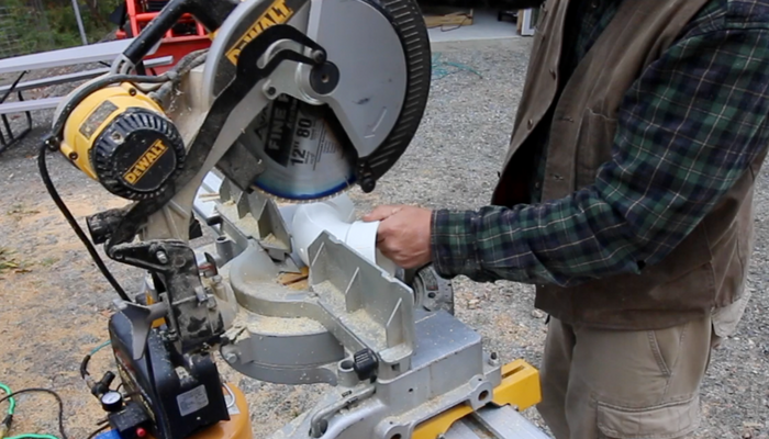 "Cutting the 3.5"" PVC Fitting with Miter saw"