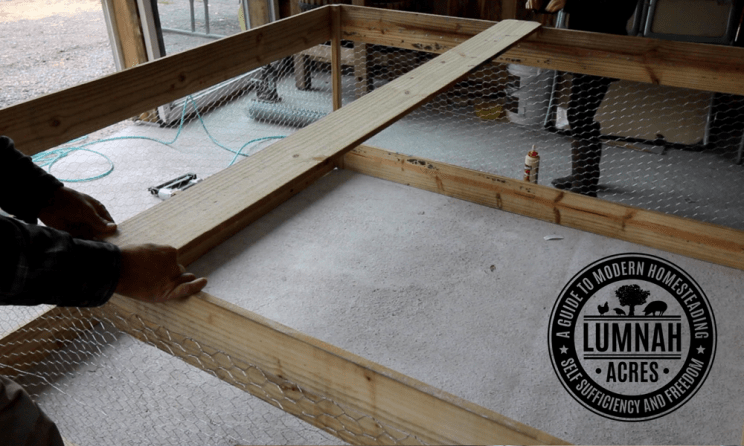 Installing the cross brace on the $30 chicken coop