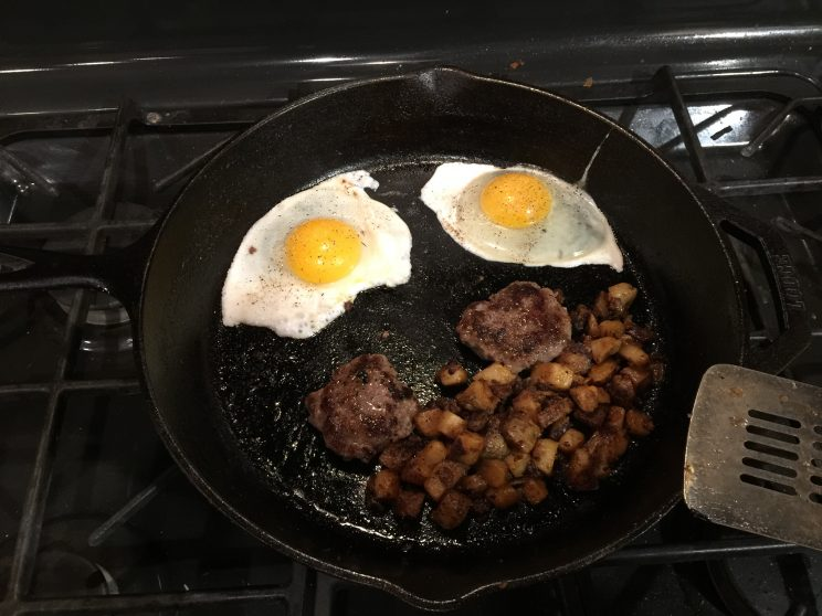 Breakfast Cooking in a Cast iron Skillet