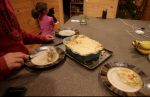 Putting the Chicken Pot Pie on our Plates